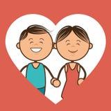 Caráteres dos pares com amor do coração Foto de Stock Royalty Free