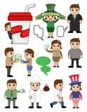 Caráteres dos povos do negócio e do feriado dos desenhos animados ilustração do vetor