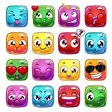 Caráteres engraçados da geleia do quadrado dos desenhos animados Fotografia de Stock Royalty Free