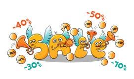 Caráteres engraçados da venda: letras que jogam instrumentos musicais Fotos de Stock Royalty Free
