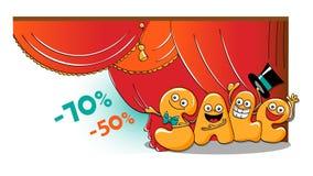Caráteres engraçados da venda: vendas da abertura ilustração do vetor