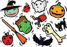 Caráteres engraçados de Dia das Bruxas ajustados Foto de Stock
