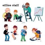 Caráteres engraçados do grupo típico do pessoal de escritório Imagens de Stock Royalty Free
