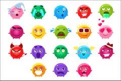 Caráteres esféricos do grupo diferente de Emoji das cores ilustração stock