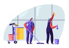 Caráteres fêmeas de limpeza do serviço que varrem e que esfregam o assoalho com espanador, janela de lavagem com pano O outro equ ilustração stock