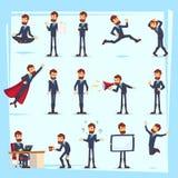 Caráteres farpados do homem de negócio do trabalhador de escritório Adulto na roupa ocasional As emoções e as expressões, levanta ilustração do vetor