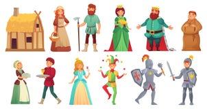 Caráteres históricos medievais Cavaleiros reais históricos do alcazar da corte, camponês medieval e vetor isolado rei dos desenho ilustração royalty free