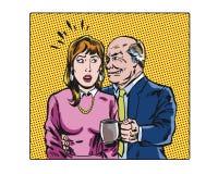 Caráteres ilustrados pop art do acosso sexual do local de trabalho da banda desenhada Imagem de Stock