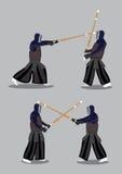 Caráteres Kendo Martial Arts Combat Sports do vetor Imagens de Stock Royalty Free
