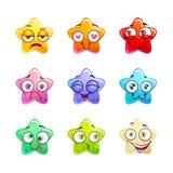 Caráteres lustrosos coloridos da estrela dos desenhos animados ajustados Fotografia de Stock