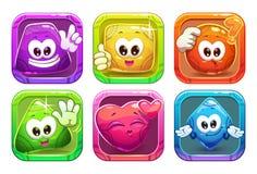 Caráteres lustrosos coloridos da forma dos desenhos animados engraçados Foto de Stock Royalty Free