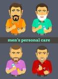 Caráteres masculinos diferentes com artigos da higiene ilustração do vetor
