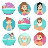 Caráteres masculinos e fêmeas que fazem procedimentos do banheiro, ilustração do vetor da higiene pessoal da manhã ilustração stock