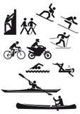 Caráteres mostrados em silhueta dos esportes ilustração royalty free