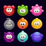 Caráteres redondos da geleia engraçada dos desenhos animados ajustados Imagem de Stock