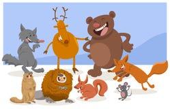 Caráteres selvagens do animal dos desenhos animados Foto de Stock