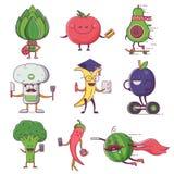 Caráteres suteis das frutas e legumes Foto de Stock Royalty Free