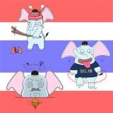 caráteres tailandeses do elefante, ilustração do vetor, sátiras de Tailândia Fotografia de Stock Royalty Free