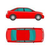 car Κορυφή και πλευρά άποψης Οριζόντια ορισμένη διανυσματική απεικόνιση Στην άσπρη ανασκόπηση Στοκ φωτογραφία με δικαίωμα ελεύθερης χρήσης