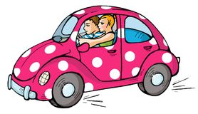 Car 01. Funny pink car with teens Royalty Free Stock Photo
