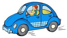 Car 05. Funny blue car with girl Stock Photography