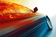 Car. Sport car with burning roof in motion on icy road Royalty Free Stock Photos