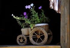 Car. Basket of flowers on the windowsill Stock Photos