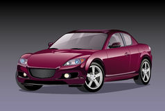 Car. Dark red sports car on a white background stock illustration