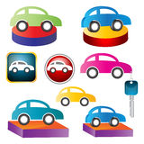 Car. Illustration of car icons on white background Stock Photography