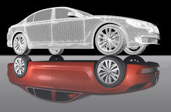 Car. 3D isometric view of abstract car with mirror reflexion Stock Images