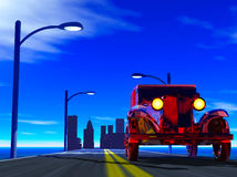 Car. The old car leaving on a line from the big city Royalty Free Stock Images