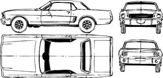 Car. Top, left side, front and back. Vector illustration Stock Images