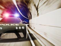 Car. Black police car with included flashing lights Stock Photography