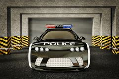 Car. Modern police car with a red and blue siren Royalty Free Stock Image