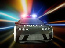 Car. Black police car with included flashing lights Royalty Free Stock Images
