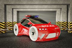 Car. Modern police car with a red and blue siren Stock Photos