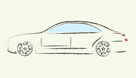 Car. Painting stripes a black car Royalty Free Stock Photo