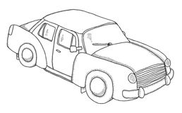 Car. Hand drawn old retro car Royalty Free Stock Photography