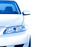 Car. Front view of a car with white  copy space Stock Photography