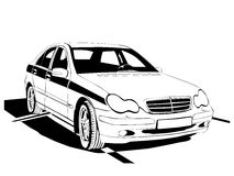 Car. Vector car black colour on white background (This is a traced image royalty free illustration