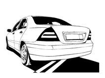 Car. Vector car black colour on white background (This is a traced image stock illustration
