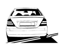 Car. Vector car black colour on white background (This is a traced image vector illustration