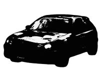 Car. Black car drawn in style strip cartoon Stock Images