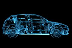 Car 3D rendered xray blue Royalty Free Stock Photos