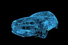 Car 3D xray blue Royalty Free Stock Photos