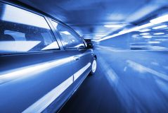 The Car. Moving Car at night in the lights Royalty Free Stock Image