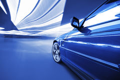 The Car. Moving Car at night in the lights Royalty Free Stock Images