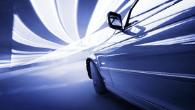 The Car. Moving Car at night in the lights Royalty Free Stock Photography