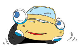 Car. Toon  looks with a smile aside Royalty Free Stock Image