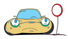 Car. The dissatisfied cartoon car and road sign Royalty Free Stock Images